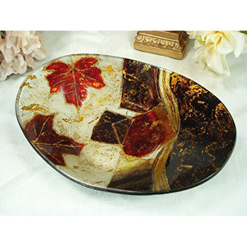 Murano Leaf Design Oval Deep Bowl