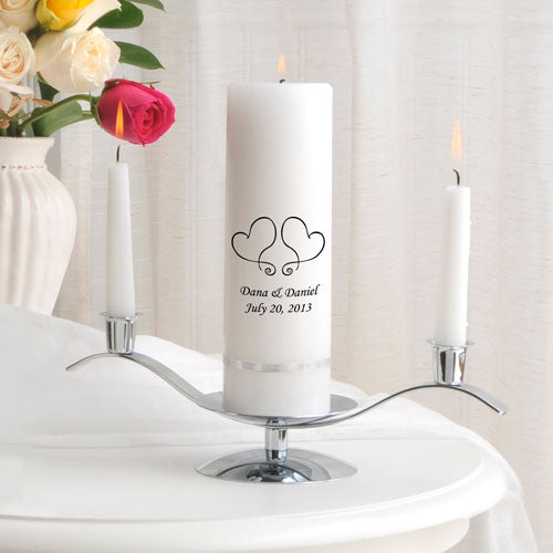 Personalized Marriage Unity Candle, Tapers and Candle Holder Set