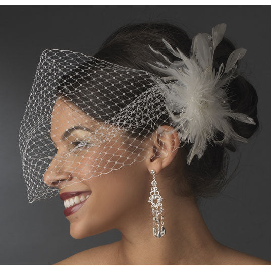 Bridal Cage Veil Feather Accent Clip (White or Ivory)
