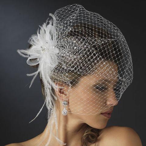 Jeweled Feather Fascinator with Russian Veil (White or Ivory)