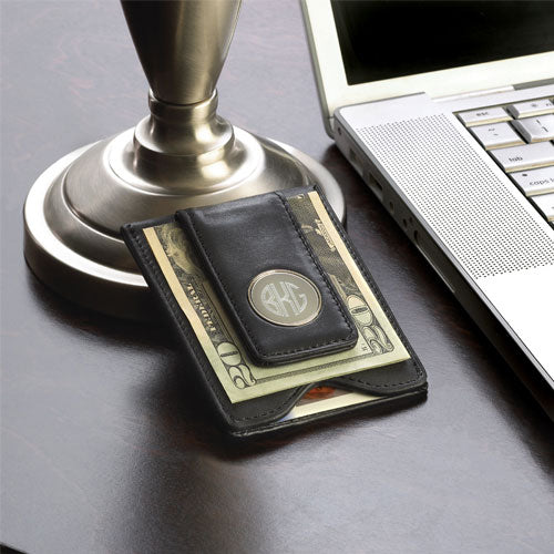 Personalized Black Leather Wallet & Money Clip