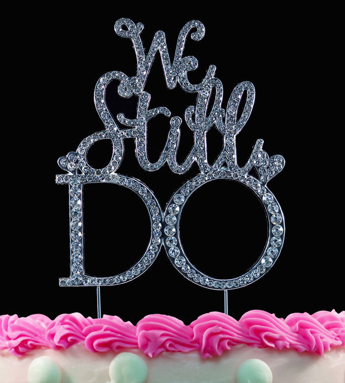 We Still Do Silver Bling Annviersary Cake Topper Decorations