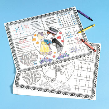 12 Wedding Day Child Activity Place Mat
