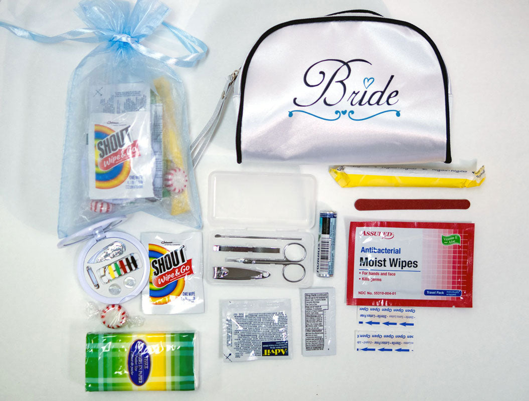 Wedding Survival Kit Bridal Emergency Kit in White Satin Bride Travel Bag