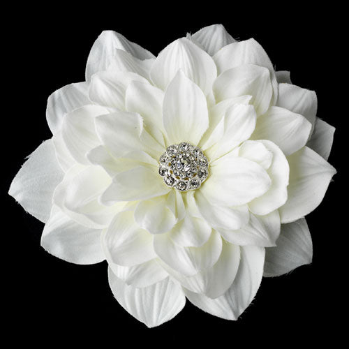 Elegant Rhinestone Jeweled Royal Gerber Flower Hair Clip