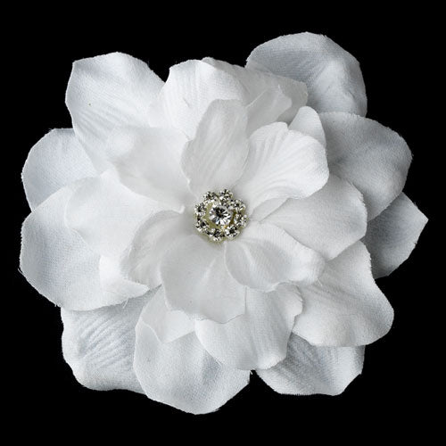 Gorgeous White Jeweled Delphinium Flower Hair Clip