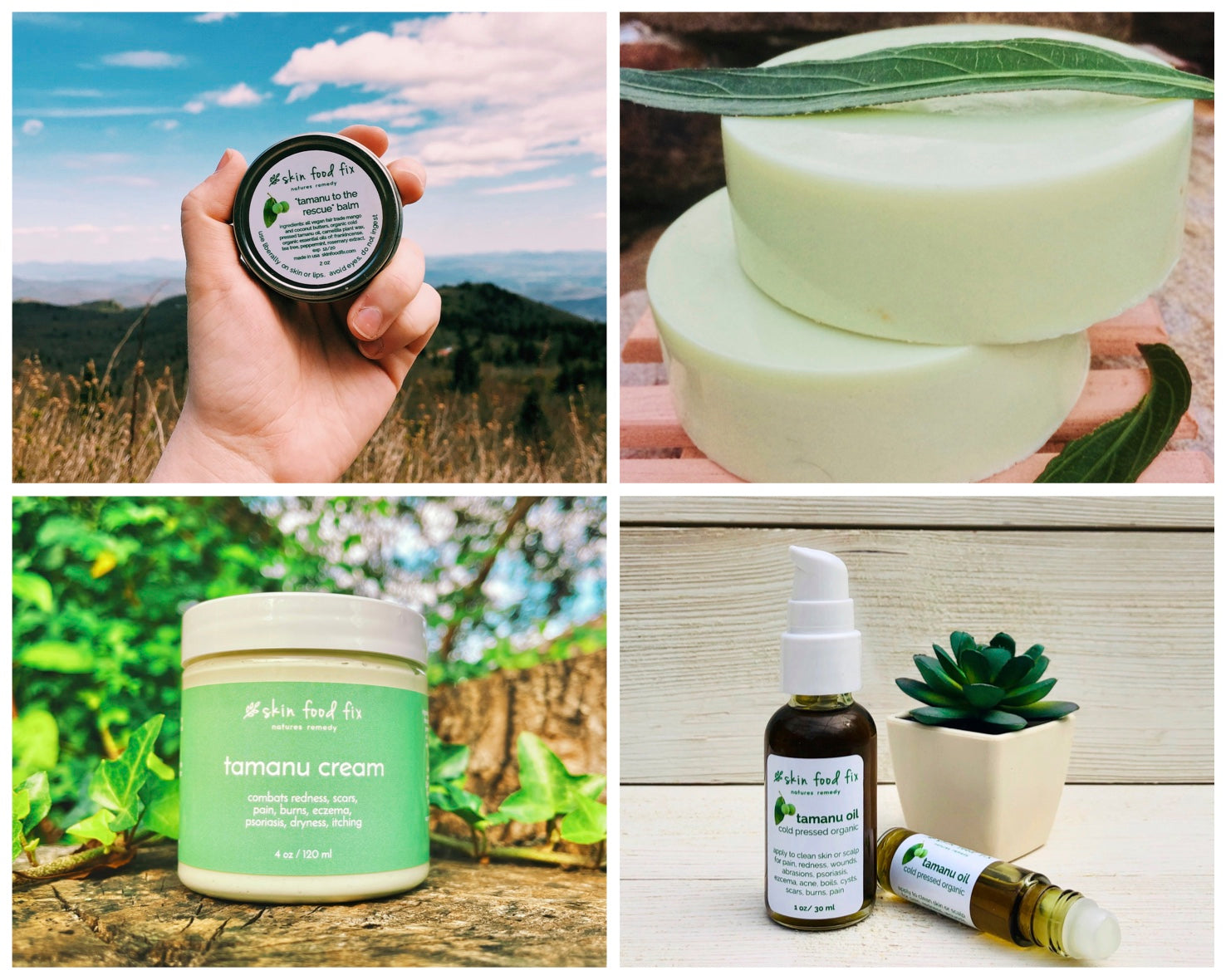 collage of tamanu oil skincare products