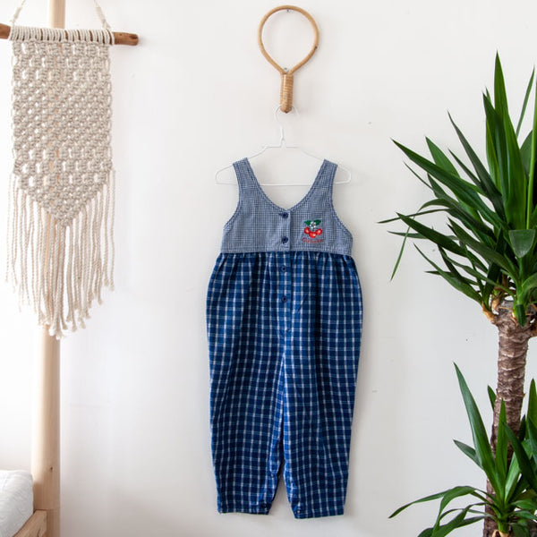 Vintage Cherry Plaid Jumpsuit | 3Y