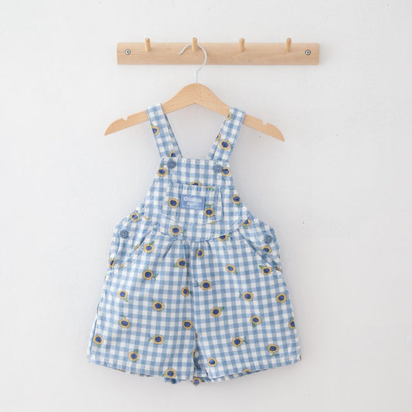 Vintage Sunflower Dungaree Shorts | 2Y