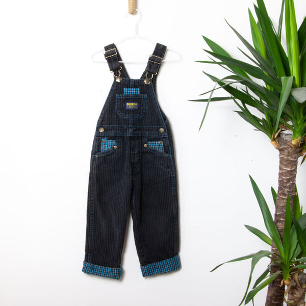 Vintage Striped & Plaid Dungarees ~ 3Y