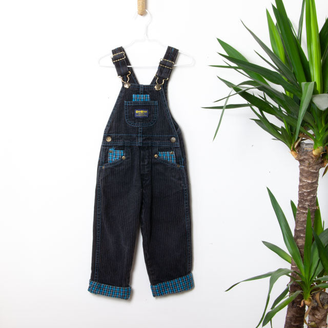 Vintage Striped & Plaid Dungarees | 3Y