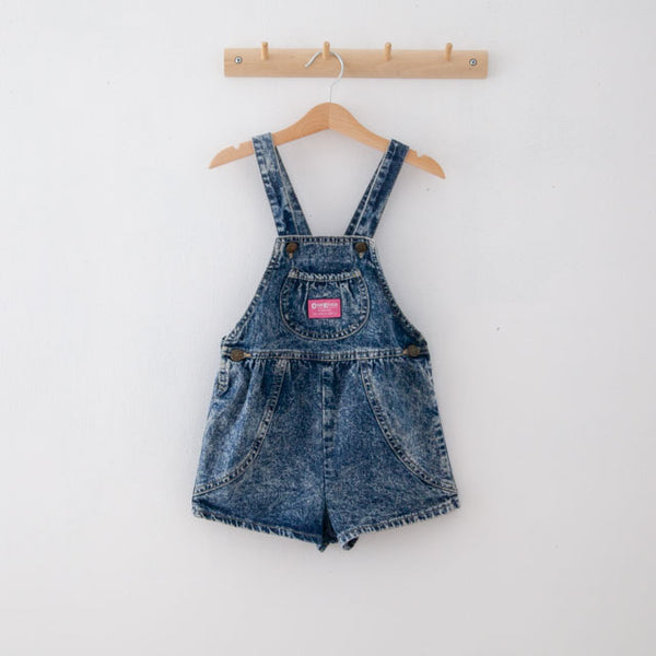 Vintage Acid Wash Dungaree Shorts | 5Y
