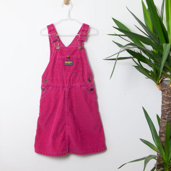 Vintage Pink Corduroy Dungaree Dress ~ 7Y