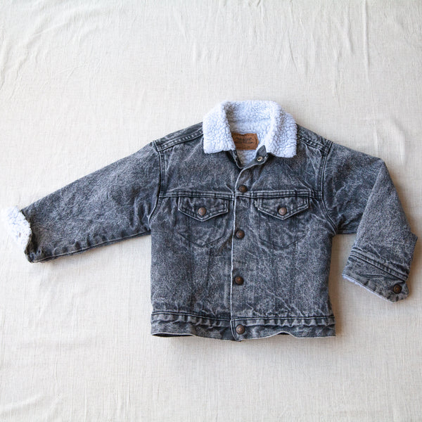Vintage Grey Acid Wash Sherpa | 4/6Y