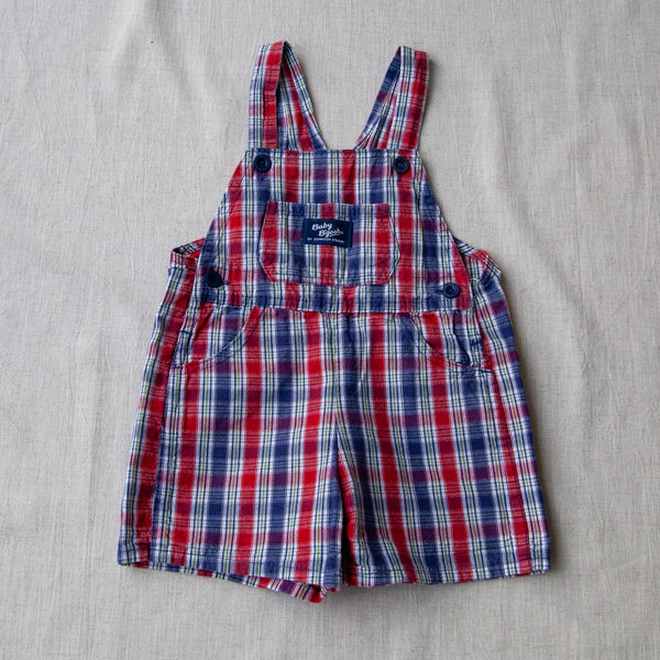 Vintage Plaid Dungaree Shorts | 18/24M