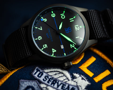 Limited Edition Thin Blue Line Springfield GMT Watch