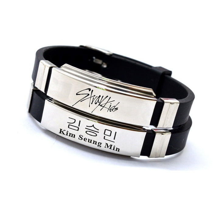 1pcs Kpop Stray kids bracelet logo name stainless steel silicone K-pop bracelet