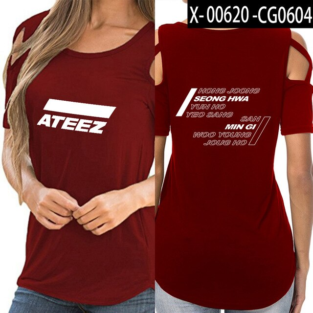 ATEEZ t shirts women Hip-hop shoulder-off sexy ATEEZ women Street Korean wear - Kpopshop