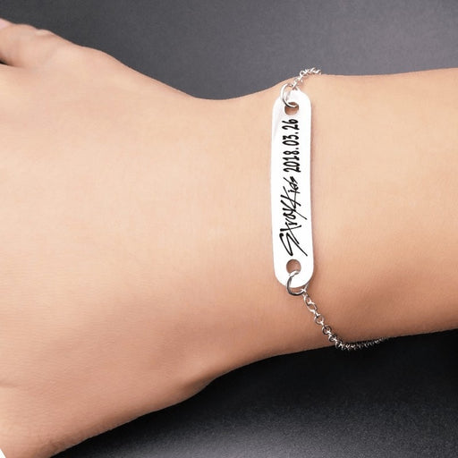 2019 New kpop Stray Kids Name Birthday Steel Stainless Steel Strip Lettering Bracelet Necklace simple korean style fashion kpop - Kpopshop
