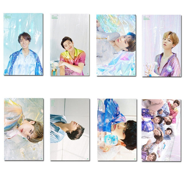 2020 Kpop Bangtan Boys JK JIN JIMIN SUGA RM V J-HOPE SEASON'S GREETINGS Small Card LOMO Card Stationery Supplies Fan Collection