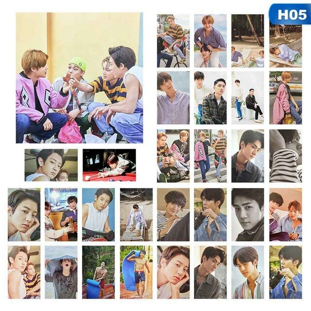 30pcs/set KPOP EXO Hawaii Photobook Album Self Made Paper Lomo Card Photo Card Poster Photocard For Fans Collective Gift