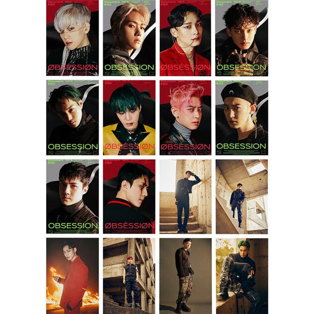 54 Pcs / Set Kpop EXO Album Self Made Paper Lomo Card Photo Card Poster Photocard Fans Gift Collection Stationery Set