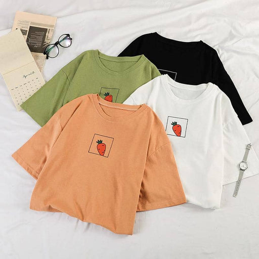 Kpopshop Originals - 90s girl Women carrot O-neck T-shirts Vintage Ullzang  Top Tees Female