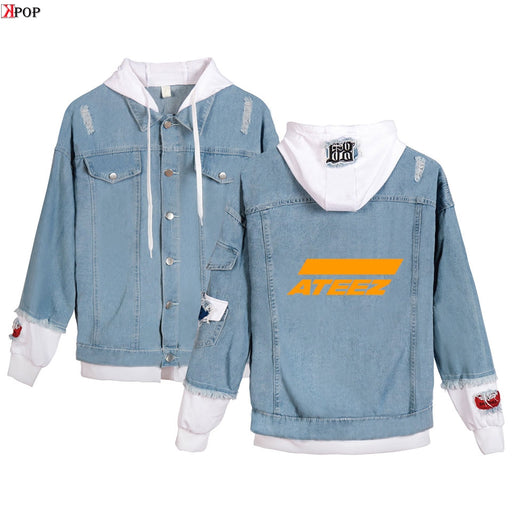 ATEEZ Autumn Hooded Denim Jacket For Women Casual Jeans Jacket Holes Vintage Harajuku Coat Female loose Streetwear Basic Coats
