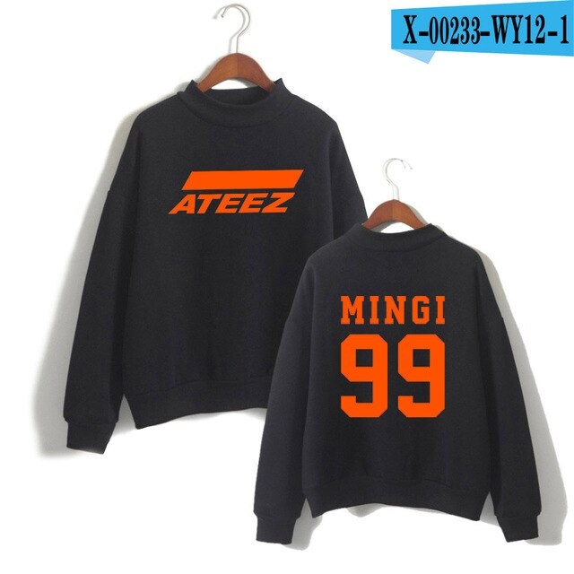 Ateez Turtleneck Sweatshirt Women Korean Team Highsreet Girls High Quality Pullovers High Collar Sweatshirt tshirt - Kpopshop
