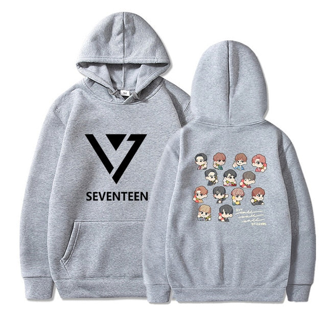 Boys/Girls Seventeen Kpop Print Cotton Hoodies Female Hooded Pullover Men's  Streetwear Hoodie