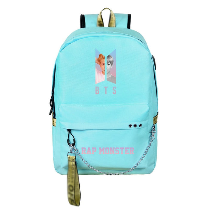 BTS Canvas cute teenagers girls backpack Usb charging sport travel backpack large capacity student bag