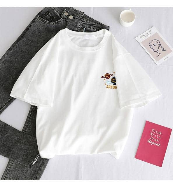 Kpopshop Originals - T-shirts Rainbow Striped Soft Loose Embroidery T-shirt  (16) - Kpopshop