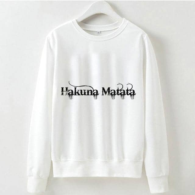Kpop Newest Cute Hakuna Matata Graphic Hoodies Sweatshirt Women Letter Print Kpop Clothes Funny Casual O-Neck Long Sleeve Shirt White Hoodie that you'll fall in love with. At an affordable price at KPOPSHOP, We sell a variety of Cute Hakuna Matata Graphic Hoodies Sweatshirt Women Letter Print Kpop Clothes Funny Casual O-Neck Long Sleeve Shirt White Hoodie with Free Shipping.