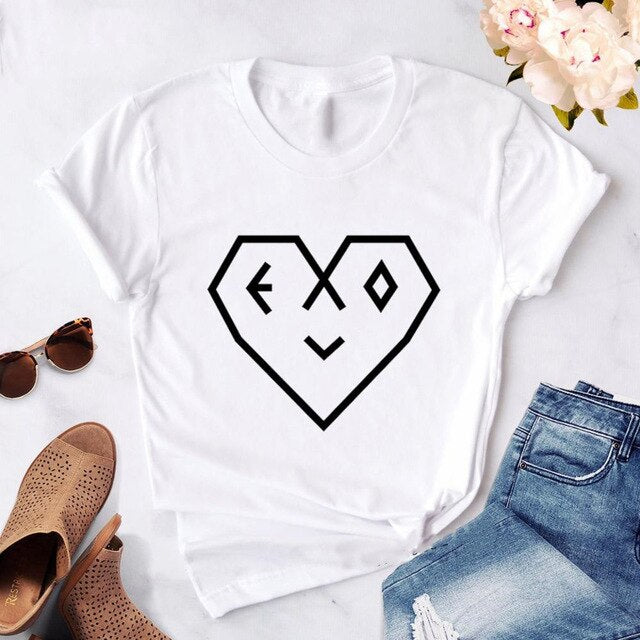 Fashion EXO Letter Tshirt Women Print 2020 new Kpop Korean style T-Shirt Casual Short Sleeve Tees Shirt Tops Clothes