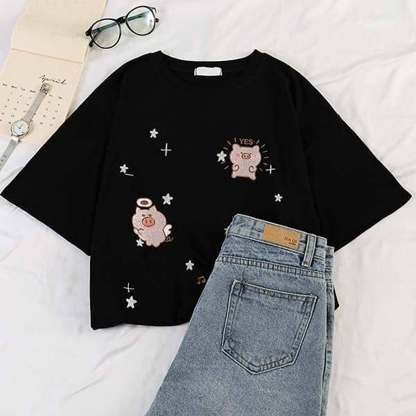 Kpopshop Originals - star embroidery korean Women Funny T-Shirts white Black Tops Female - Kpopshop