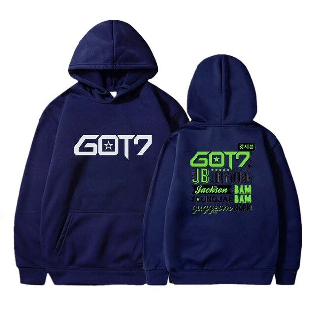 Hip Hop Hoodies Got7 Printing Casual Women Men Black Long Sleeve Oversize Pullover Tracksuit Sweat Coat Autumn Casual Sportswear