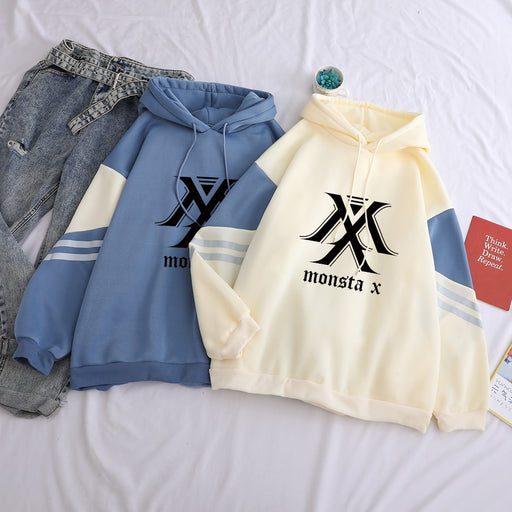 Hot Sale MONSTA X Print Women Hoodies Casual Long Sleeve Hip Hop Winter Fleece Pullover Fashion Sweatshirt Hooded Kpop Clothes