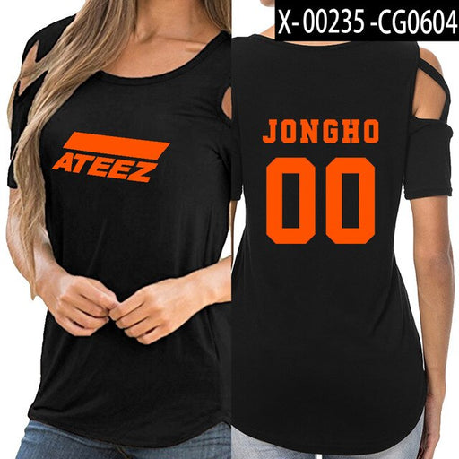 KPOP ATEEZ off shoulder women girl t-shirt women sexy Korean tops - Kpopshop
