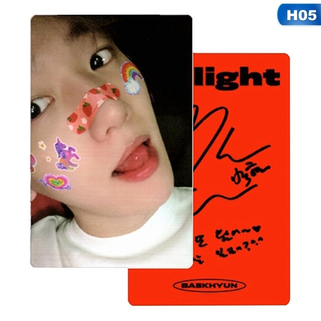 KPOP EXO BAEKHYUN Delight Album LOMO Cards Fashion Self Made Paper Photo Card Photocard Autograph