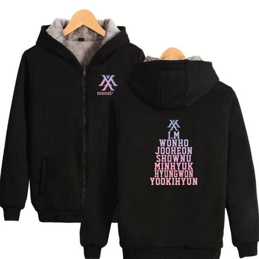 KPOP Monsta x Women Jackets and Coats Korean K-POP Monstax  Thick Zipper Hooded Sweatshirt K-POP - Kpopshop