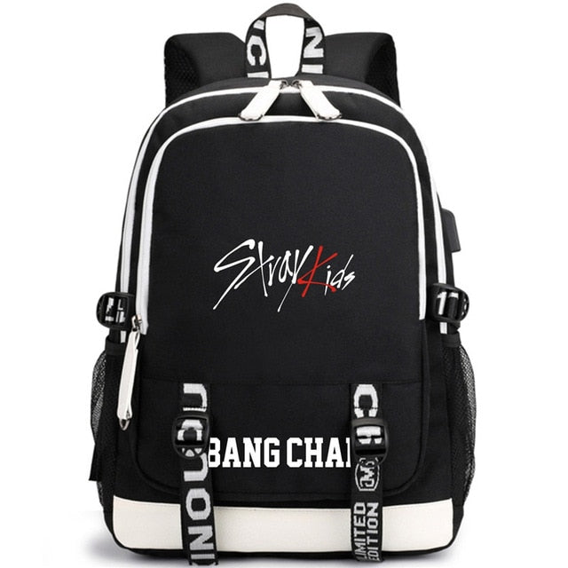 KPOP USB Stray Kids Backpack Black Blue School Bag