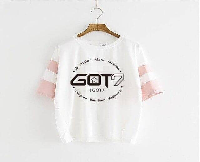 Kpop Newest KPOP fashion GOT7 + The member name 2016 new GOT7 Jackson Wang Blue sleeve pink sleeve T-shirt Short sleeve student Loose coat that you'll fall in love with. At an affordable price at KPOPSHOP, We sell a variety of KPOP fashion GOT7 + The member name 2016 new GOT7 Jackson Wang Blue sleeve pink sleeve T-shirt Short sleeve student Loose coat with Free Shipping.