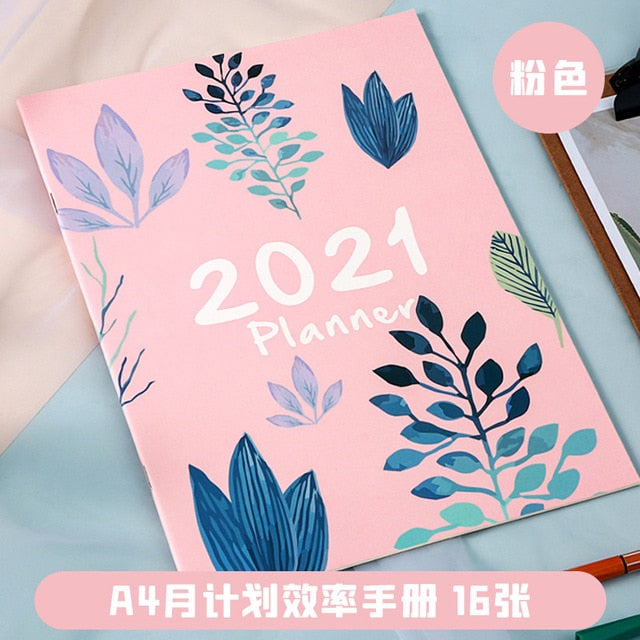 2021 A4 Monthly Plan Notebook Organizer 365 Days Journals DIY Planner Weekly Notepad Kpop Stationery Gift