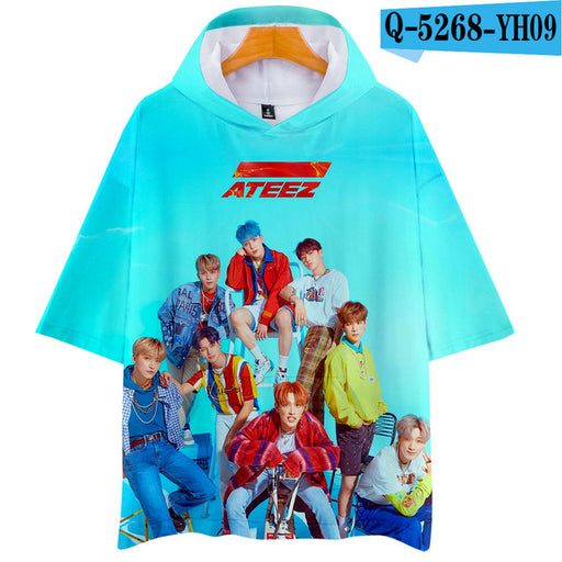 Korean KPOP ATEEZ Album 3D Hooded Women Men  Loose T-shirt Tops - Kpopshop