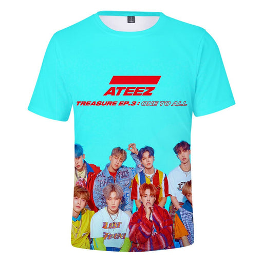 Korean Kpop ATEEZ 3D Women Women O-neck Funny Hipster Graphic Tees K-POP - Kpopshop