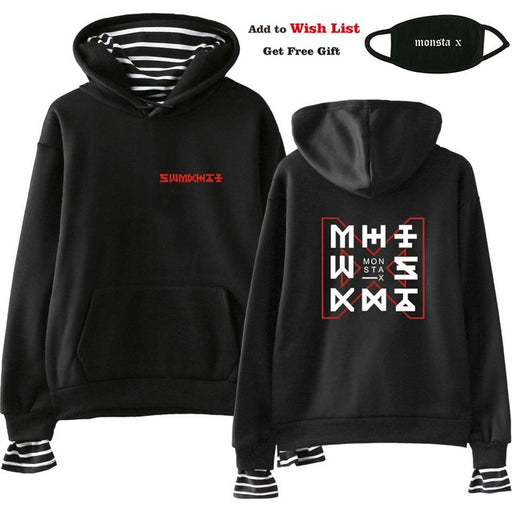 Kpop Monsta X Women Men Fake Two Piece Sweatshirt Female  Pullover  Sudadera - Kpopshop
