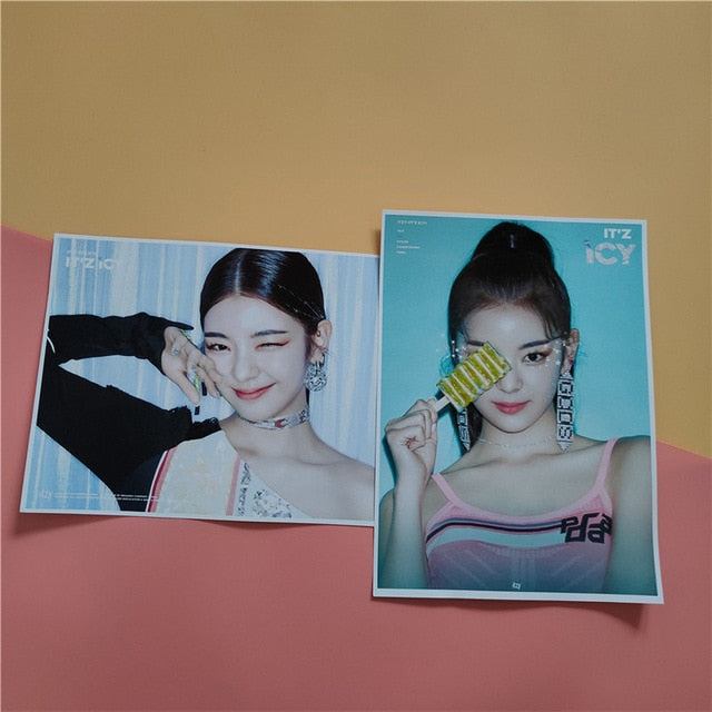 Kpop ITZY New Album ICY Clear HD Printing Wall Photo Poster Stickers Yeji Lia Ryujin Yuna Self-adhesive Pictorial Fans Gifts