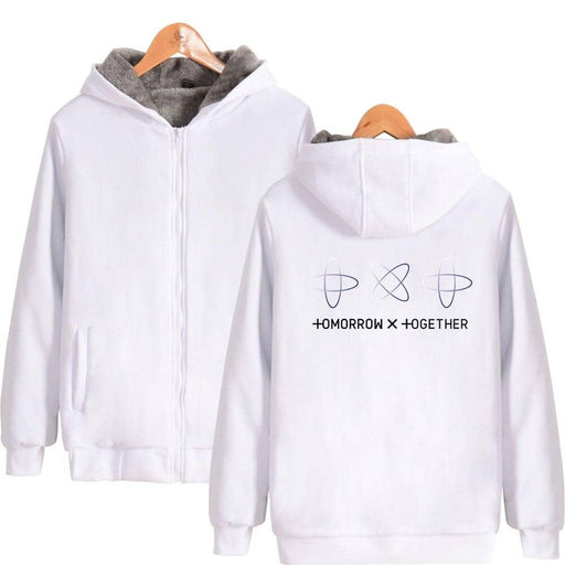 Kpop TXT TOMORROW X TOGETHER Group Logo YEONJUN Thicken Zipper New Popular oversized - Kpopshop