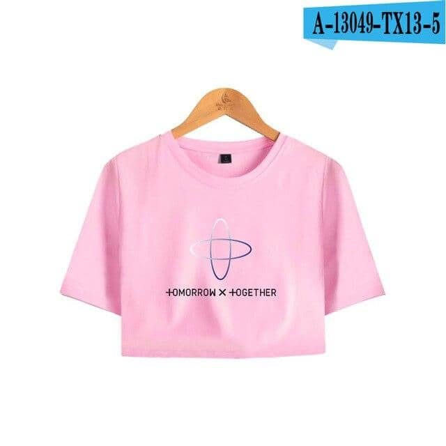 Kpop TXT TOMORROW X TOGETHER Group Logo YEONJUN Women Short T-shirt Pullover Sexy Tee - Kpopshop