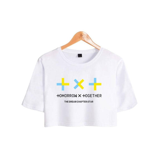 Kpop TXT TOMORROW X TOGETHER Group Logo YEONJUN Women Short T-shirt Pullover Sexy Tee